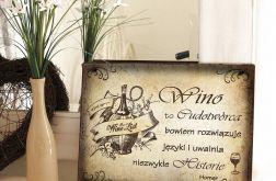 Zawieszka Tabliczka rustykalna obrazek Wino Prezent