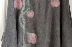 Ponczo piękny kolor szary z rózem