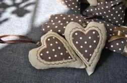 2 lniane serduszka - czekolada z karmelem
