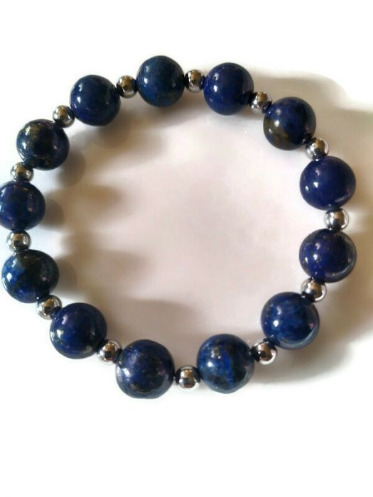Bransoletka z lapis lazuli i hematytu - Bransoletka na co dzień i od święta