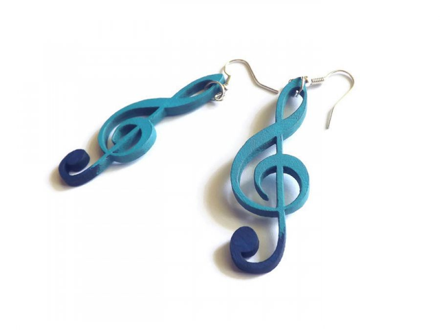 Kolczyki Klucze violinowe, niebiesko-srebrne