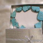 Obróżka z naturalnych płyt turkusu,srebro - Ozdobne opakowanie