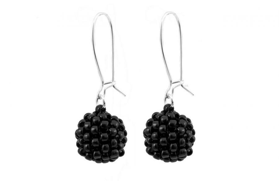 Kolczyki koralikowe kule czarne