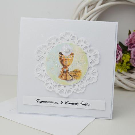 Komunia - zaproszenie z hostią