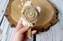 Butonierka ślubna jutowy kwiat