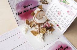 Exploding box komunijny różowy - kartka