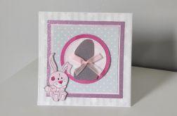 Kartka na roczek Jedynka z różowym króliczkiem