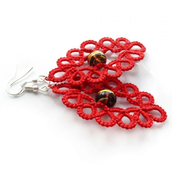 Czerwone frywolitki#czarno-złoty