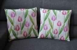 Poszewka dekoracyjna - różowe tulipany
