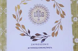 Zaproszenie Komunia, Chrzest...akcent złoty