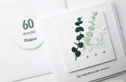 Kartka URODZINOWA z zielonymi gałązkami