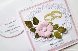Kartka ŚLUBNA biało-różowa
