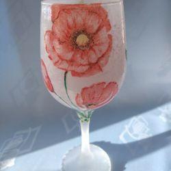 świecznik-lampion szklany z makami