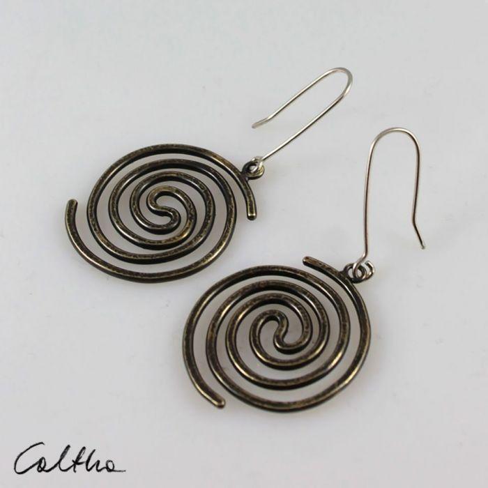 Spiralne - mosiężne kolczyki 210310-01 - Kolczyki spirale