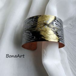 Bransoletka miedziana złoto i srebro