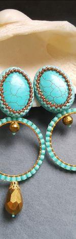 Kolczyki koła turkusowo-złote