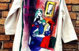 recznie malowana sukienka picasso abstrakcja