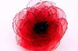 Broszka kwiat - czerwień 6 cm