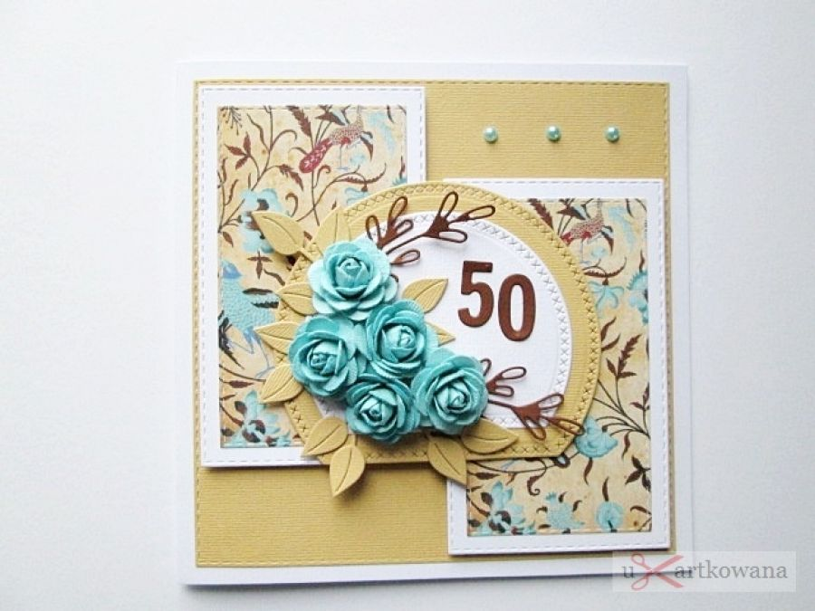 Kartka URODZINOWA z turkusowymi różami