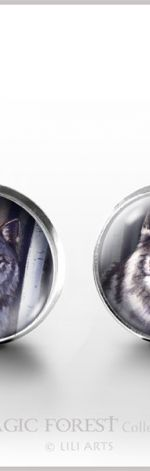 Szary wilk - kolczyki wkrętki