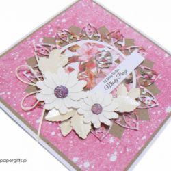 Kartka ślubna białe kwiaty w różu