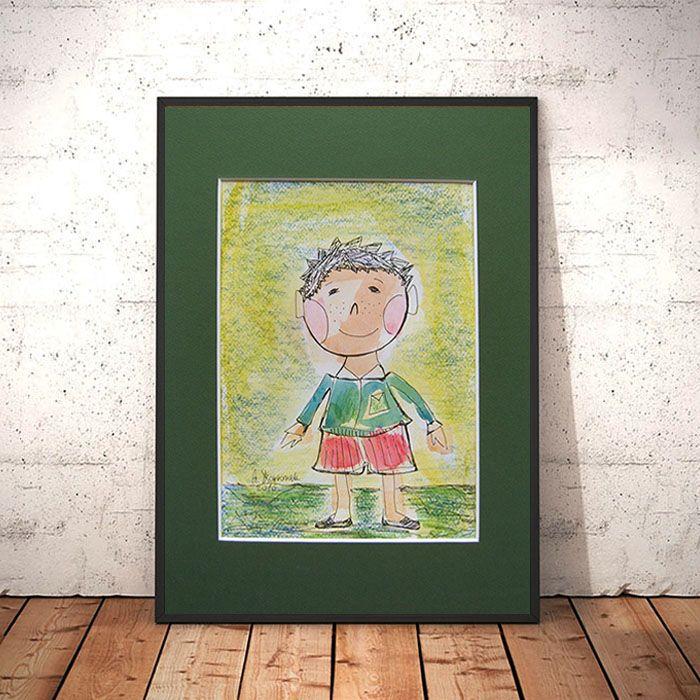 Chłopczyk, ręcznie malowana ilustracja