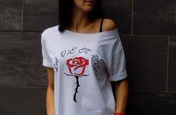 "t-shirt  ""LA VIE EN ROSE"" czerwona róża"