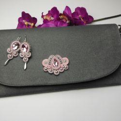Biżuteria wizytowa soutache kopertówka siwa