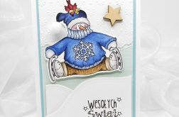 Kartka świąteczna prosta z bałwankiem BNR 013