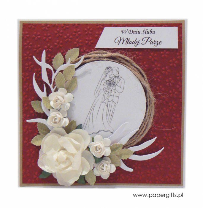 Kartka ślubna z wiankiem i różami - bordowa