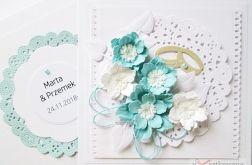 Kartka ŚLUBNA z niebieskimi kwiatami