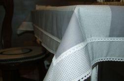 Obrus  bawełna shabby - szarości i biele