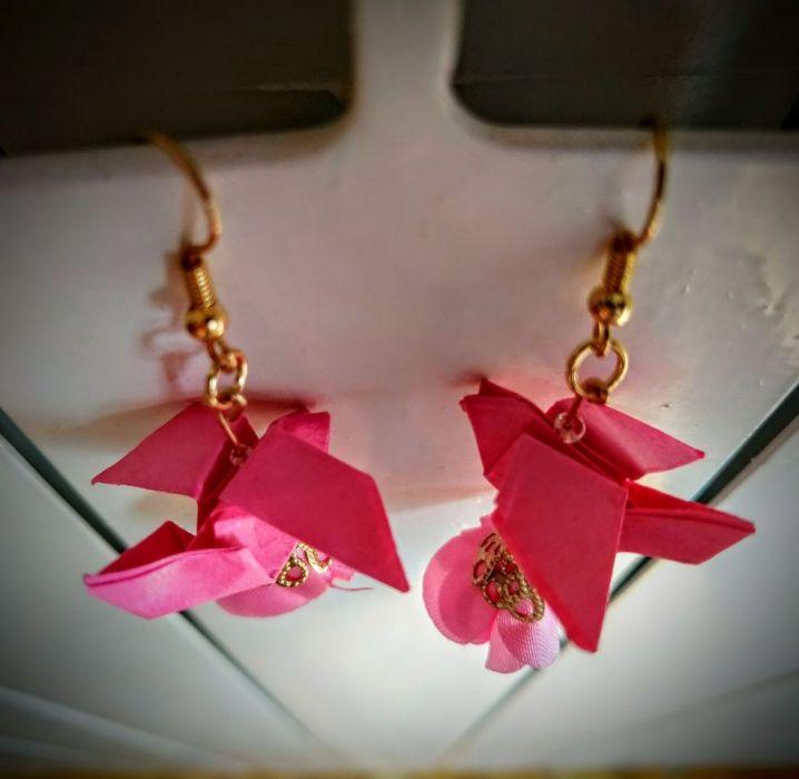 Kolczyki origami pink little bird - Od góry