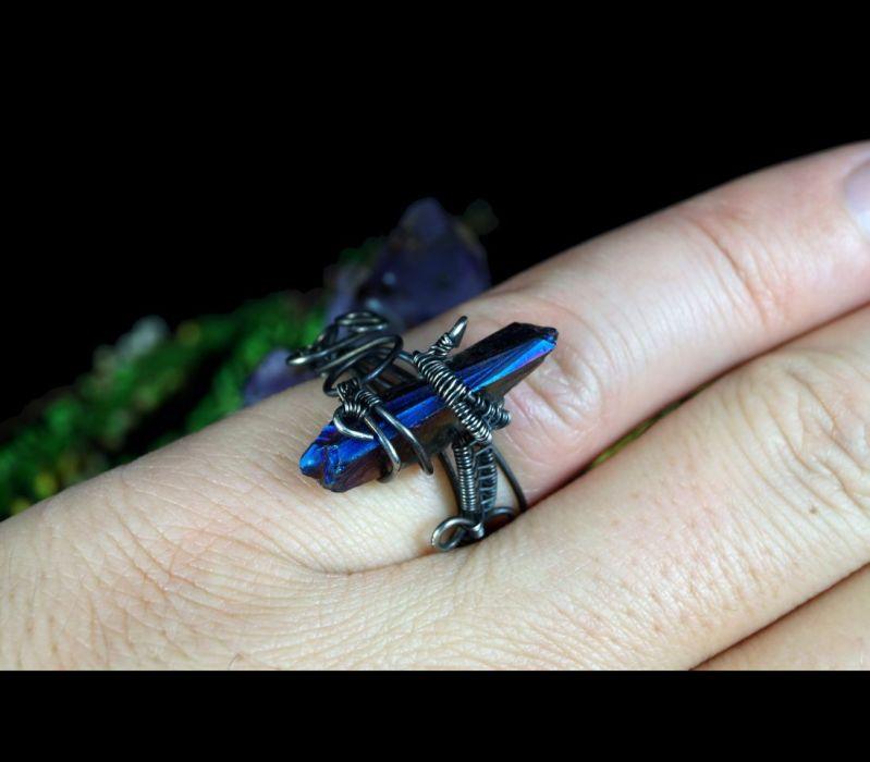 Kwarc Srebrny pierścionek z kwarcem tytanowym