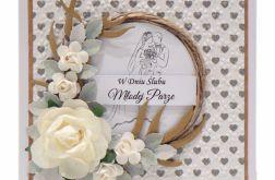 Kartka na ślub wianek z różami srebrne serca