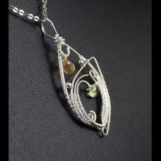 Cytryn Srebrny wisior z cytrynem, peridotem