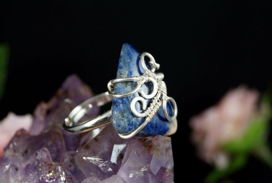 Srebrny pierścionek z sodalitem handmade - pierścionek z sodalitem