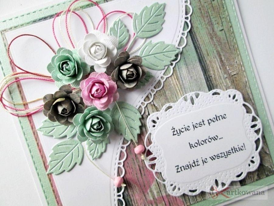 Kartka UNIWERSALNA z pastelowymi różami