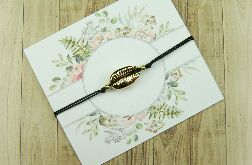 Złota muszla I Bransoletka na czarnym sznurku