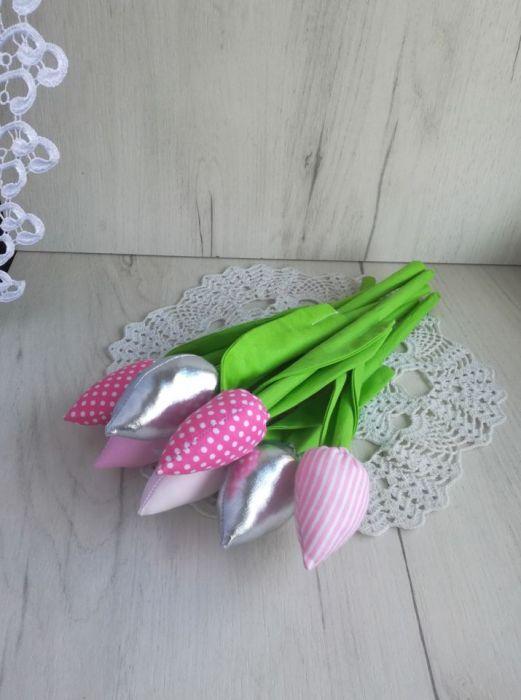 Tulipany z bawełny bukiet różowy urodzinowy