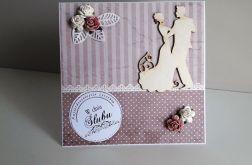 Kartka ślubna szaro-różowa para młoda koronka