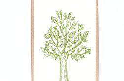 oprawiona grafika 21x30, drzewko obrazek