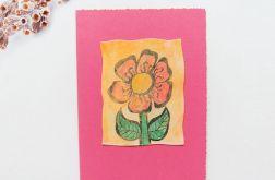 Kartka uniwersalna różowa z kwiatkiem 1