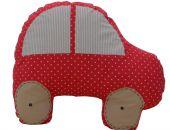 poduszka w kształcie auta czerwona w kropki