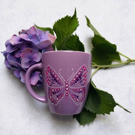 Ręcznie zdobiony kubek Motyl fioletowy