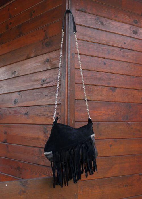 Ciemno brązowa skórzana torba na ramię - torba z długim paskiem