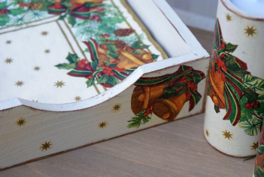 Świeczniki i serwetnik- świąteczne dzwonki