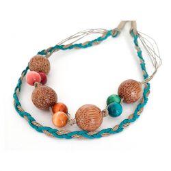 3786 długi naszyjnik drewniane korale len