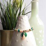 Bransoletka brzoskwiniowo-szmaragdowa 2