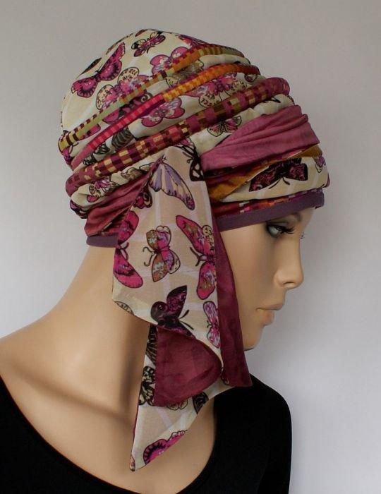 letni turban MOTYLI